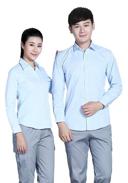 蓝色纯棉衬衫