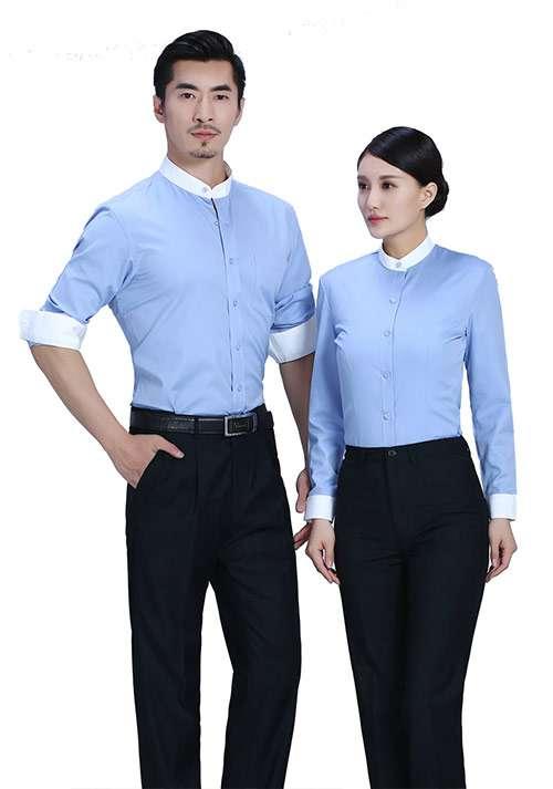 蓝色立领衬衫