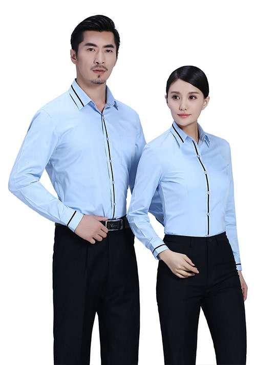 翻领黑条蓝色衬衫