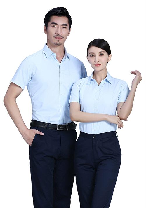 浅蓝短袖衬衫定制