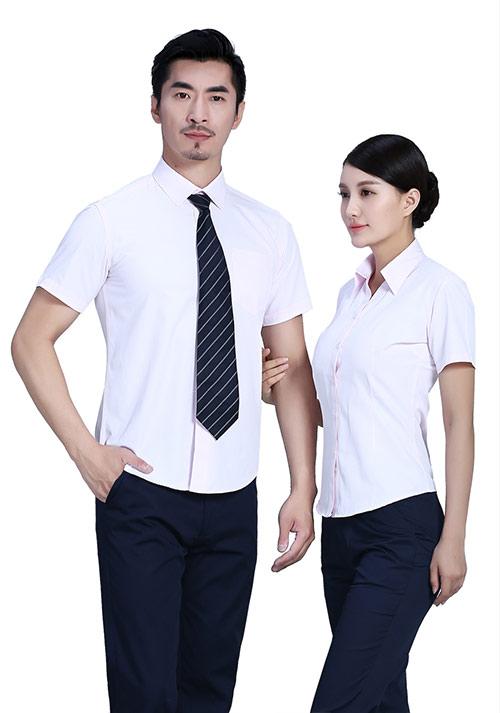 淡粉短袖衬衫定制