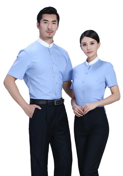 立领短袖衬衫定制