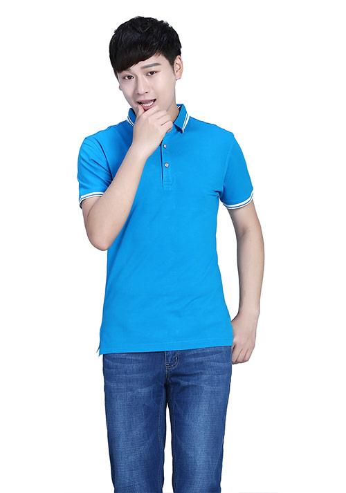 湖蓝短袖T恤文化衫定制