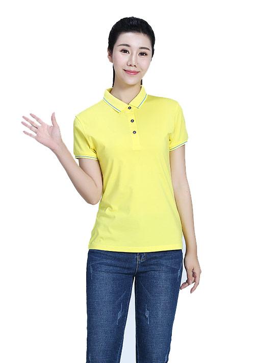 黄色短袖T恤文化衫定制