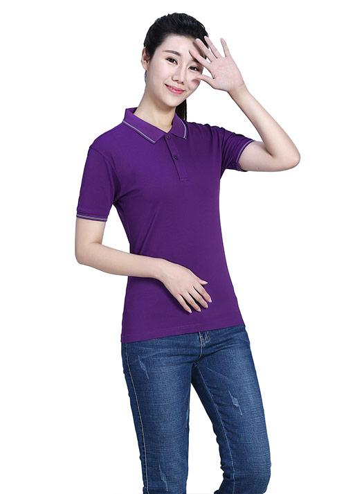 紫色短袖T恤文化衫定制