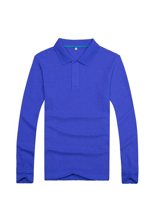 蓝色长袖T恤文化衫定制