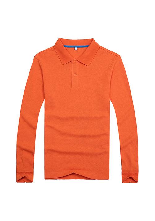 桔色长袖T恤文化衫定制