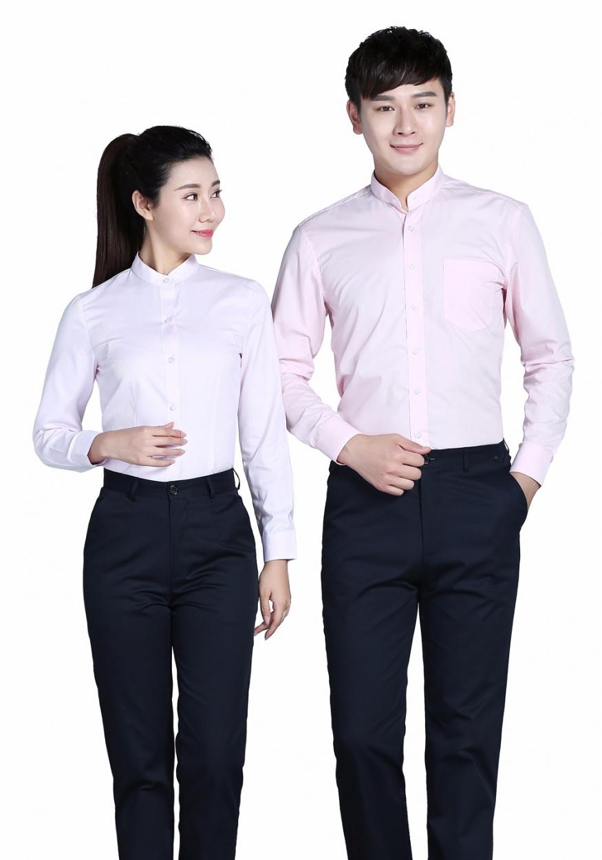 衬衫粉色女粉色立领长袖衬衫