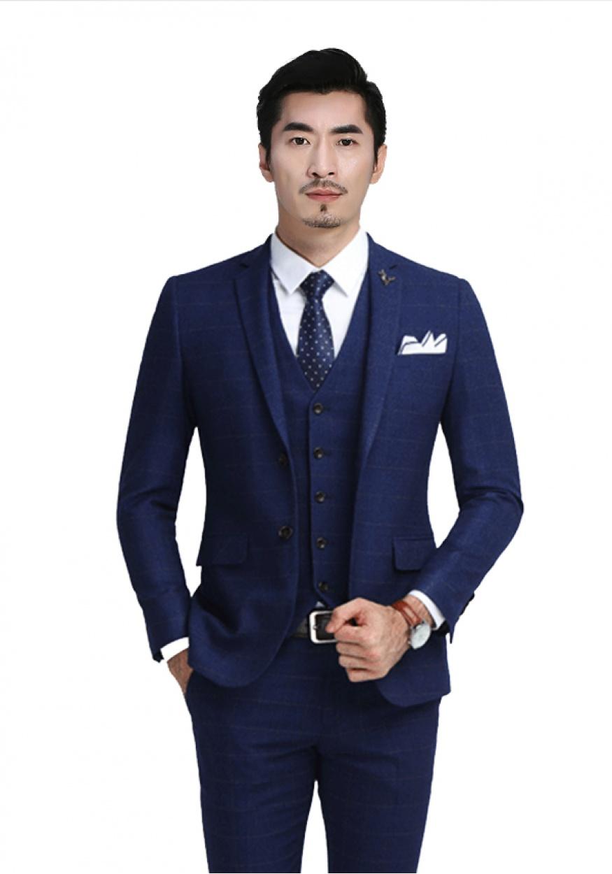 蓝色男士商务西装